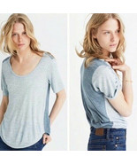 Madewell Anthem Scoop Tee T-Shirt Top Large Gray Blue Colorblock - $22.27
