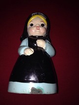 Antique Hand Painted Amish Girl Woman Porcelain Piggy Bank - $7.87
