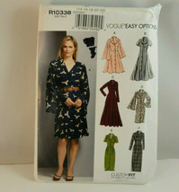 Vogue Pattern R10338 Easy Options Dress Size Flowing Sleeves 14 - 22 Cot... - $12.38