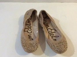 Sam Edelman Womens Tan Glitter Rhinestone Ballet Flat Party Shoes Size 6M  - $24.99