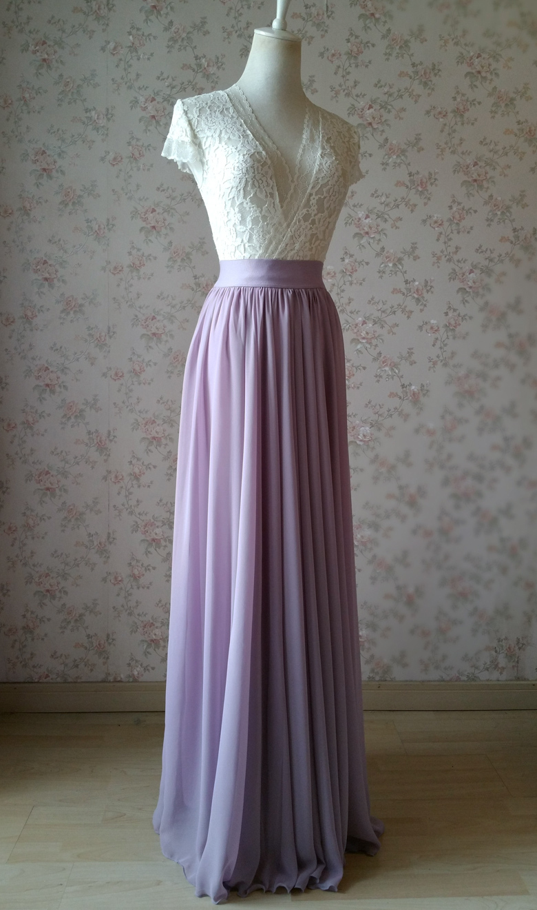 Chiffon maxi skirt wedding lavender 780 3