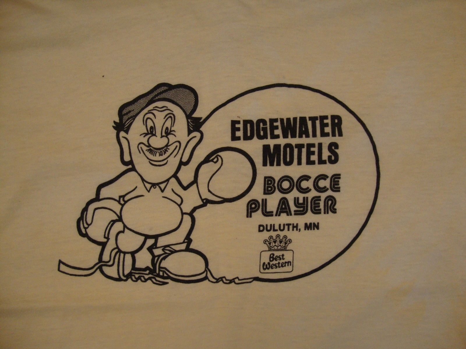 Primary image for Vintage Edgewater Motels Bocce Ball Duluth Minnesota Sports Outdoors T Shirt M