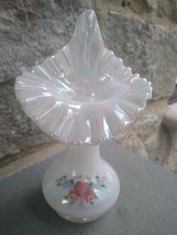Fenton Painted White Carnival Glass Hearts & flowers Jack in the Pulpit Vase JIP - $39.99