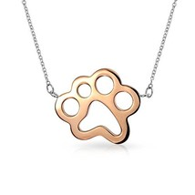 Bling Jewelry Large Dog Cat Puppy Kitten Pet Paw Print Pendant Necklace for Wome