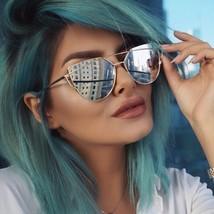 Flat Mirrored Oversized Metal Frame Cat Eye Women Sunglasses Fashion Design - $9.85+