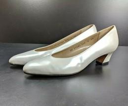 Salvatore Ferragamo Pumps Women's Sz 6 AA White Leather Uppers  (sb10ep) - $34.99