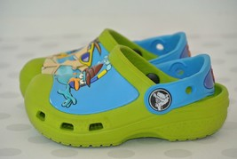 Crocks Disney Phineas Ferb Green Blue Sz 4-5 Washable Water Sandals Clog... - $14.84