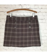 GAP Plaid Mini Skirt Womans 8 Double Button Front Taupe Brown Lined  - $19.30