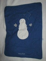 Vintage Baby Gap Blue Fleece Stitched Embroidered Snowman Blanket 1-ply 1999 - $49.49