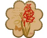 Countryside Ceramic Cup Tray Tea Cup Mat Place-mat, Flower Shapes Set of 4