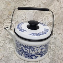Vintage, Blue Willow Enamelware Tea Kettle 8.5in W x 6in T x 6.5in D - $118.70