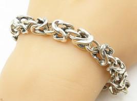 925 Sterling Silver - Vintage Minimalist Byzantine Link Chain Bracelet -... - $61.80