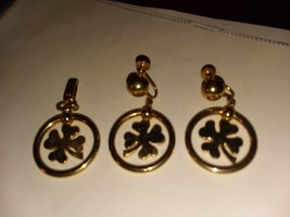 Earring set of lucke clover and matching pendant,gold tone - $14.96