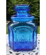 Vintage Retro Wheaton NJ Sun Flower BLUE  Glass Jar  7.5 Canister - $21.78