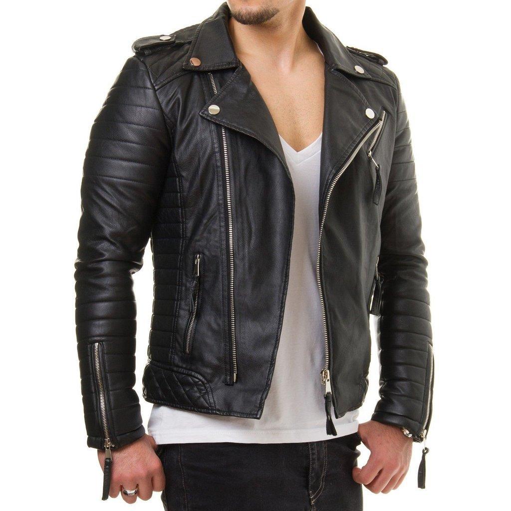 Man black biker jacket, Mens leather jackets Leather ...