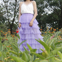 Women Purple Layered Tulle Skirt Outfit Plus Size Romantic Wedding Party Outfit  image 6