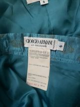 Women's Giorgio Armani Le Collezioni Silk Skirt Suit Teal w/ Gold Size 6 Jacket image 9