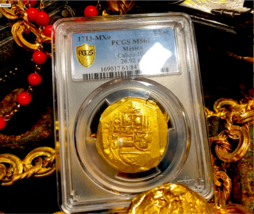 MEXICO 1713 DATED PCGS 61 FLEET SHIPWRECK 8 ESCUDOS PIRATE GOLD COINS TR... - $16,500.00