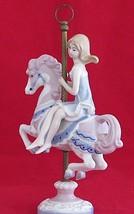 Vintage Carousel Horse Figurine Sebastian Meico Girl on Signed Porcelain - $29.69