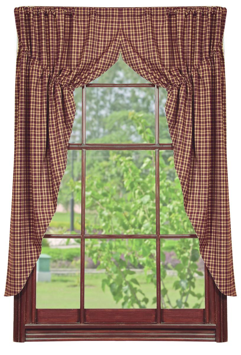 Olivia's Heartland country primitive Vintage Star Wine window PRAIRIE CURTAINS - $59.99