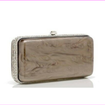 $ 3450.00  Judith Leiber Resin Rectangle Dinah Taupe  Handbag, Italy  - $1,310.10