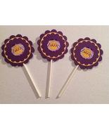 Nba Los Angeles Lakers Cupcake Toppers Party Deco Birthday Purple Handma... - $15.00