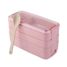 3-layer Microwave Lunch Box Sub-grid Bento Boxes Work&school Small Meal -Pink - $23.99