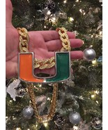 Miami Hurricanes Hurricane Turnover Chain Necklace 18K Gold GP Fully Iced Model - $102.84