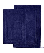 2-Pc Navy Blue Superior Luxurious Cotton Non-Skid Bath Rug Set - $42.52
