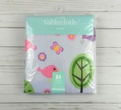 Vinyl Tablecloth 52x70 Bird Butterflies Flowers Lavender Picnic Party Ca... - $9.50