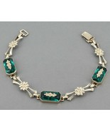 Vintage WRE Symmetalic Sterling & 14K Gold Green Stone Floral Link Bracelet - $39.99