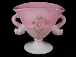 Fenton Rosalene Dolphin Handled Fan Vase for QVC, Hand Painted Roses, Pink Slag, - $85.00