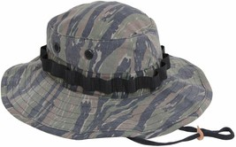 Tiger Stripe Vietnam Era Military Rip-Stop Wide Brim Boonie Hat with Strap - $12.99
