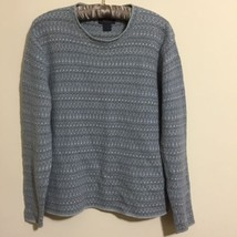 Woolrich Womens Sweater Size Medium Ramie Cotton Blend Blue Brown Stripes - $24.74
