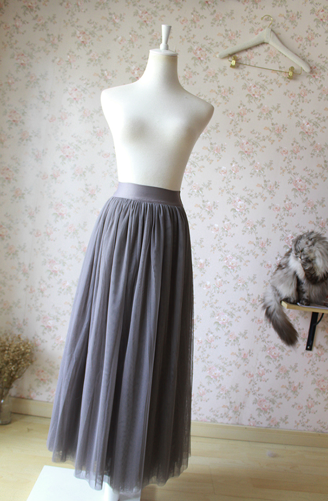 FULL GRAY Tulle Skirt Maxi Floor Length Skirt Women's Custom Bridesmaid Skirt