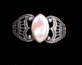 Early Sterling Silver Scroll w Pink Stone Ring - $21.95