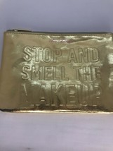 Too Faced Stop And Smell The Makeup Zip Cosmetic Pouch Gold - $17.77
