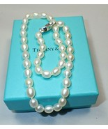 "Vintage Tiffany & Co 16""  Freshwater Oval Pearl Necklace Sterling Silver... - $402.04"