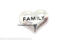 Family Silver Tone Heart Love Floating Charm For Glass Custom Memory Lockets - $2.96