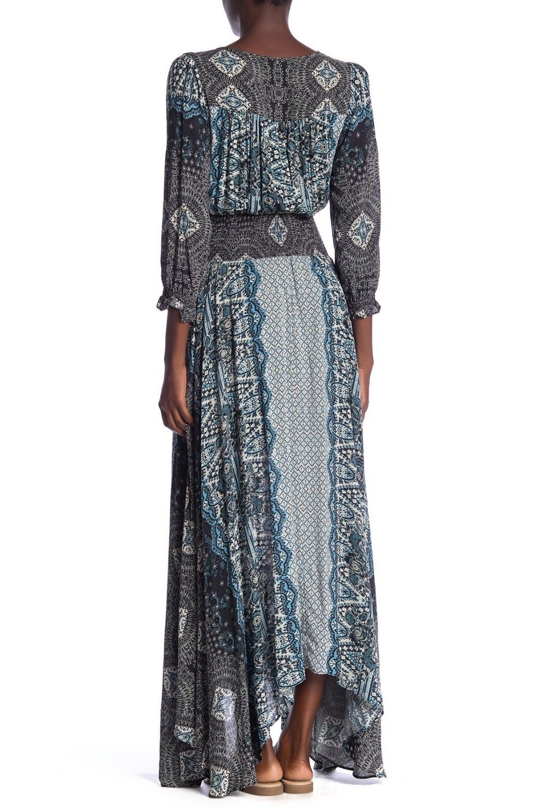 NWT FREE PEOPLE MEXICALI ROSE BLACK COMBO MAXI DRESS M