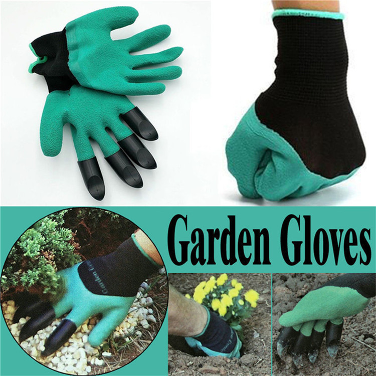Rubber Garden Gloves with 4 ABS Plastic Fingertip Claws for Gardening ! - $29.99