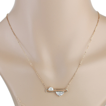 UE- Rose Tone Designer Necklace & Striking Half Moon Faux White Sapphire Pendant - $18.99