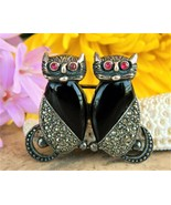 Vintage Cats Brooch Pin Sterling Silver Marcasite Black Onyx Figural - $34.95