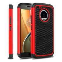Red Hybrid Case for Motorola Moto E4 Plus - Hard Heavy Duty Cover USA & Fast! image 2