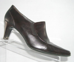 Liz Claiborne 'Lanie' brown square toe leather stretch booties womens shoes 7.5M - $8.95