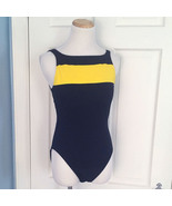 1990s Vintage Nautica Swimsuit Blue Yellow Color Block High Cut Keyhole ... - $49.95