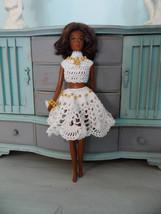 OOAK Crochet Francie Clothes Crocheted Fashion Doll Dress Set Summer Whites - $34.00
