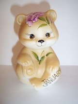 Fenton Glass January Birthday Carnation Sitting BEAR Figurine GSE K Barl... - $115.92