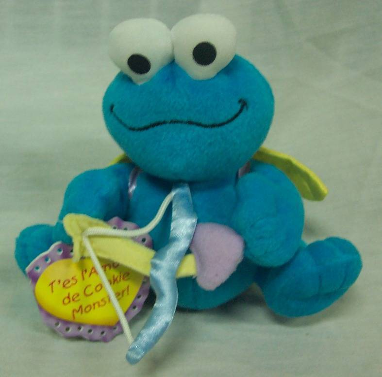 "Primary image for Sesame Street COOKIE MONSTER AS CUPID 4"" Plush STUFFED ANIMAL Toy NEW"