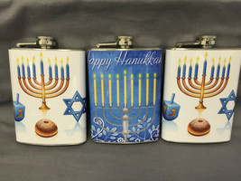 Set of 3 Hanukkah Theme Flasks 8oz Stainless Steel Hip Drinking Whiskey - $21.73